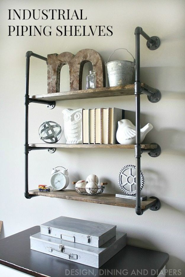 DIY Bookshelves - Industrial Piping Shelves - Easy Book Shelf Ideas to Build for Cheap Home Decor - Tutorials and Plans, Best IKEA Hacks, Rustic Farmhouse and Mid Century Modern