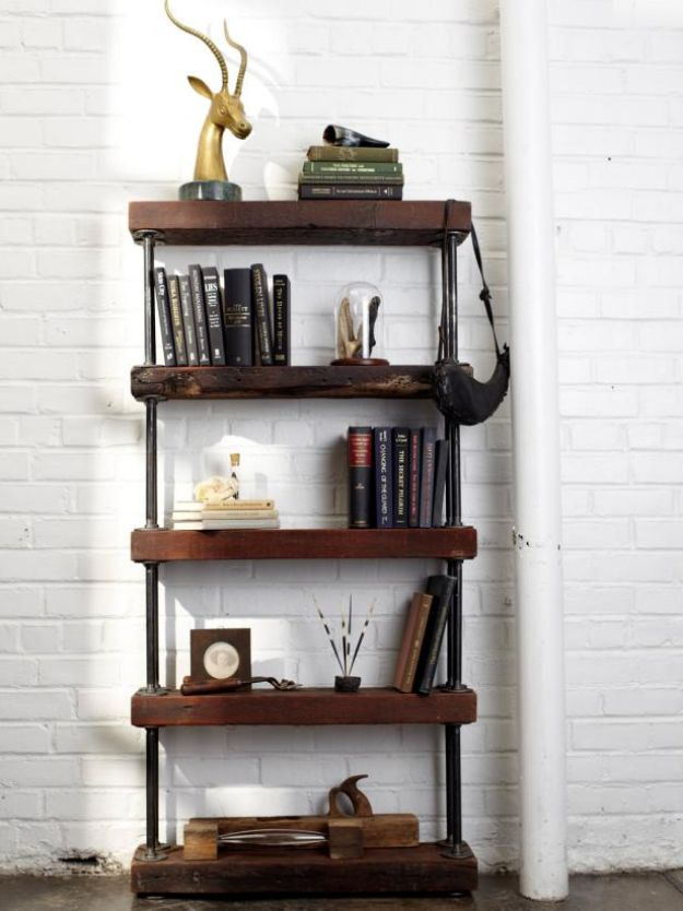 DIY Bookshelves - Industrial Rustic Bookshelf - Easy Book Shelf Ideas to Build for Cheap Home Decor - Tutorials and Plans, Best IKEA Hacks, Rustic Farmhouse and Mid Century Modern
