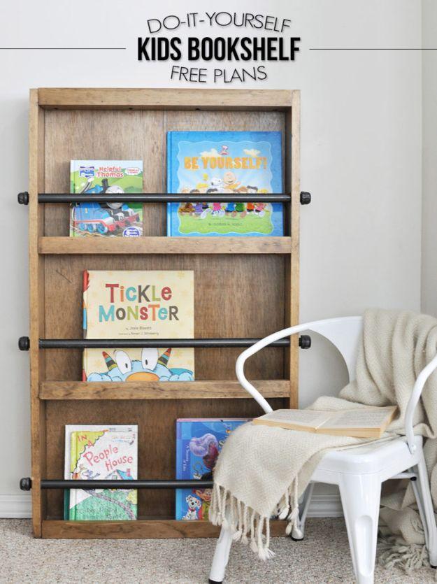 DIY Bookshelf Ideas - Industrial Style Kids Bookshelf - DYI Bookshelves and Projects - Easy and Cheap Home Decor Idea for Bedroom, Living Room - Step by Step tutorial #diy #diyideas #diydecor #homedecor