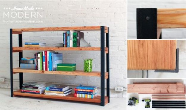 DIY Bookshelves - Ironbound Bookcase - Easy Book Shelf Ideas to Build for Cheap Home Decor - Tutorials and Plans, Best IKEA Hacks, Rustic Farmhouse and Mid Century Modern