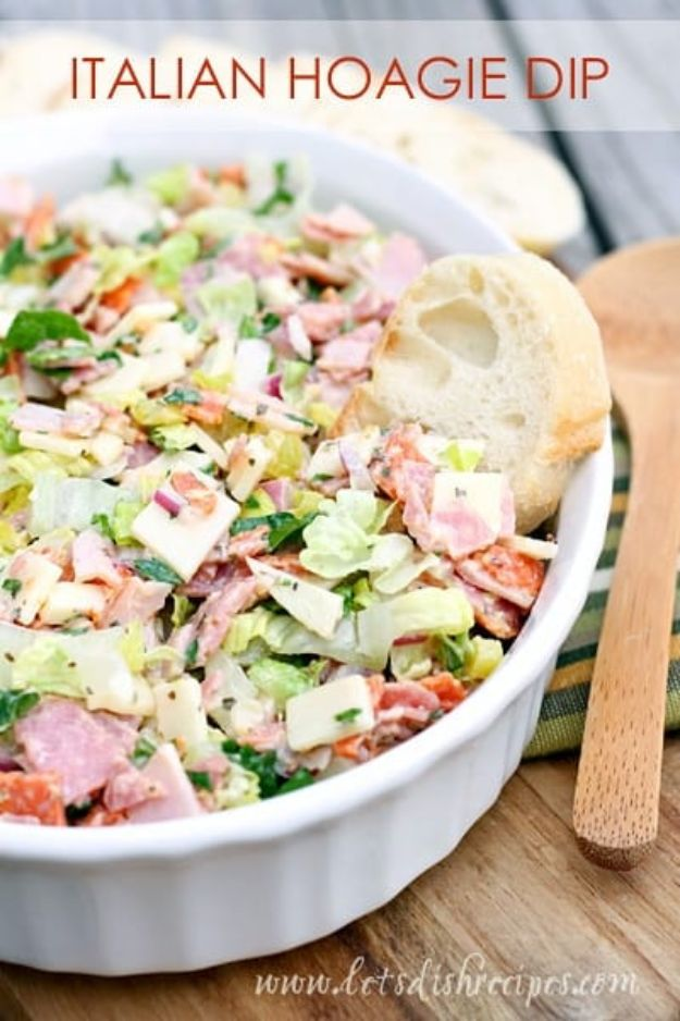 Potluck Recipe Ideas - Italian Hoagie Dip - Easy Recipes to Take To Potlucks - Dinner Casseroles, Salads, One Pot Meals, Pasta Dishes, Quick Crockpot Recipes