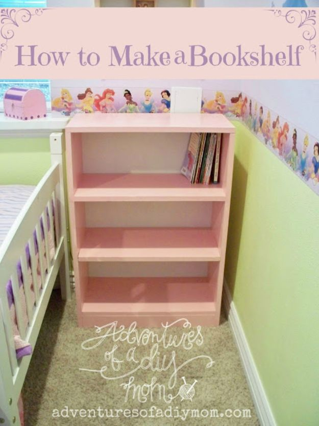 DIY Bookshelves - Make A Simple Bookshelf - Easy Book Shelf Ideas to Build for Cheap Home Decor - Tutorials and Plans, Best IKEA Hacks, Rustic Farmhouse and Mid Century Modern