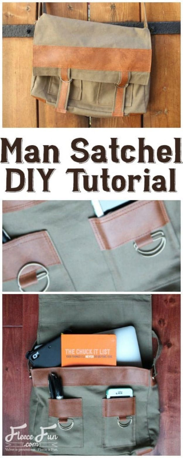 DIY Laptop Bags - Man Satchel DIY Tutorial - Easy Bag Projects to Make For Your Computer - Cool and Cheap Homemade Messnger Bags, Cases for Laptops - Shoulder Bag and Briefcase, Backpack