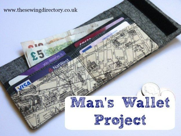 DIY Wallets - Man's Wallet Project - Cool and Easy DIY Wallet Ideas - Fabric, Duct Tape and Leather Crafts - Tutorial and Instructions for Making A Wallet - Cheap DIY Gifts
