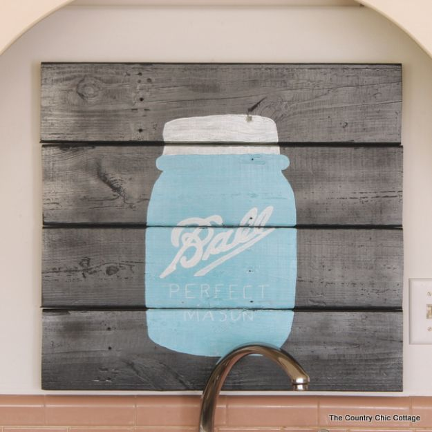 DIY Signs To Make For Your Home | Mason Jar Pallet Sign - Rustic Wall Art Ideas and Homemade Sign for Bedroom, Kitchen, Farmhouse Decor | Stencil Pallet and Distressed Vintage