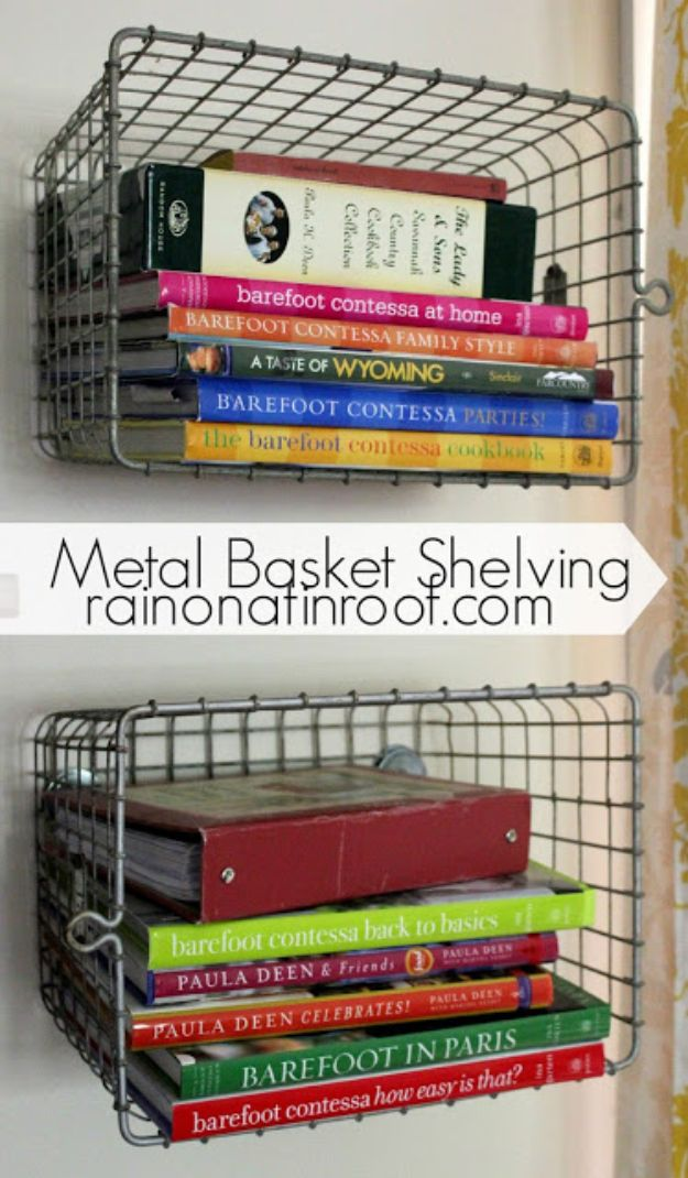 DIY Bookshelves - Metal Basket Shelf - Easy Book Shelf Ideas to Build for Cheap Home Decor - Tutorials and Plans, Best IKEA Hacks, Rustic Farmhouse and Mid Century Modern