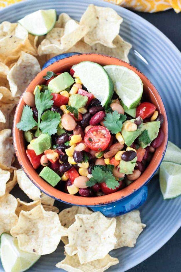 Potluck Recipe Ideas - Mexican Bean Dip - Easy Recipes to Take To Potlucks - Dinner Casseroles, Salads, One Pot Meals, Pasta Dishes, Quick Crockpot Recipes