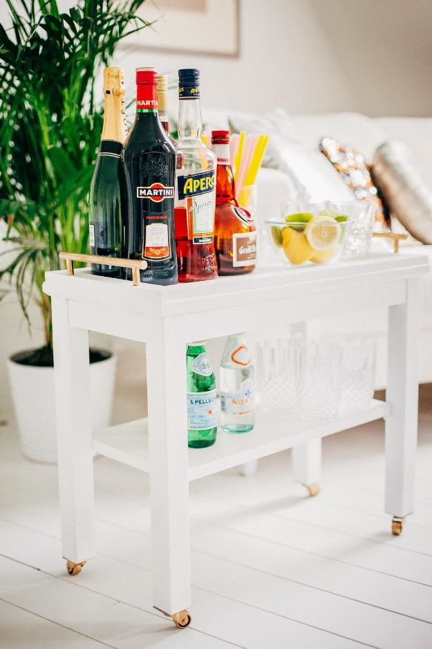 DIY Midcentury Modern Decor Ideas - Mid-Century Bar Cart - DYI Mid Centurty Modern Furniture and Home Decorations - Chairs, Sofa, Wall Art , Shelves, Bedroom and Living Room
