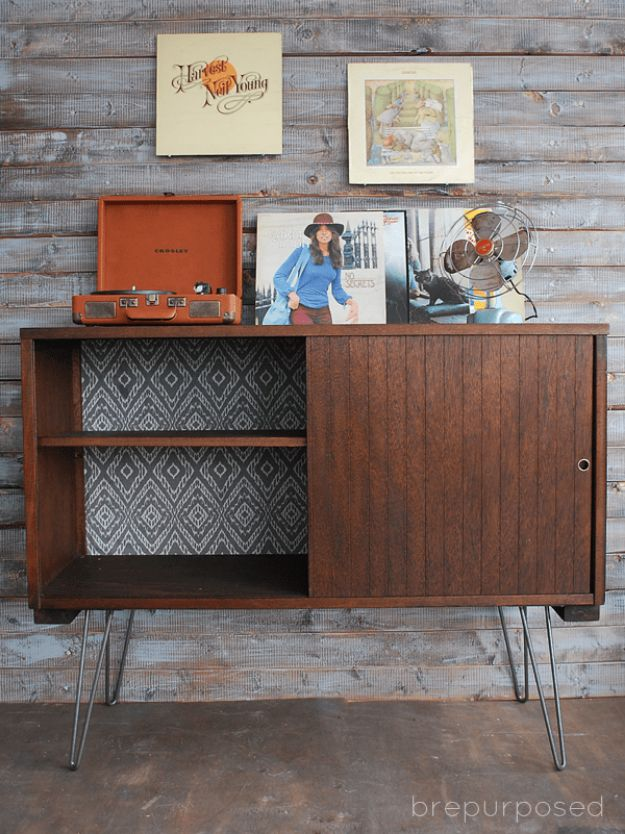 DIY Midcentury Modern Decor Ideas - Mid-Century Buffet Table - DYI Mid Centurty Modern Furniture and Home Decorations - Chairs, Sofa, Wall Art , Shelves, Bedroom and Living Room