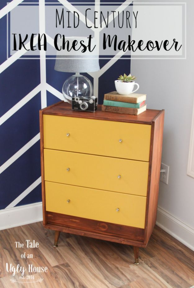 DIY Midcentury Modern Decor Ideas - Mid Century IKEA Chest Makeover - DYI Mid Centurty Modern Furniture and Home Decorations - Chairs, Sofa, Wall Art , Shelves, Bedroom and Living Room