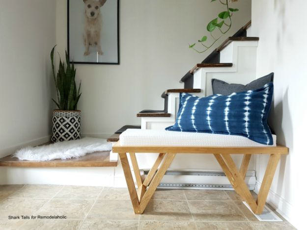 DIY Midcentury Modern Decor Ideas - Mid-Century Inspired Triangle Leg Bench - DYI Mid Centurty Modern Furniture and Home Decorations - Chairs, Sofa, Wall Art , Shelves, Bedroom and Living Room