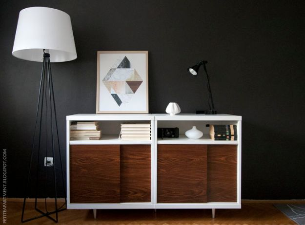 DIY Midcentury Modern Decor Ideas - Mid-Century Mdern Cabinet - DYI Mid Centurty Modern Furniture and Home Decorations - Chairs, Sofa, Wall Art , Shelves, Bedroom and Living Room