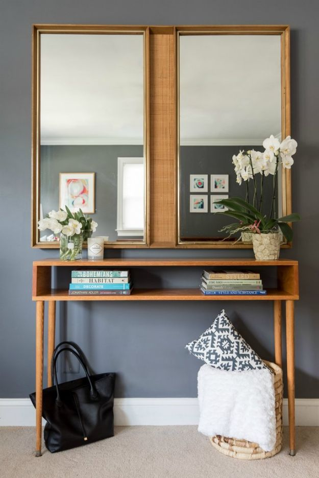 DIY Midcentury Modern Decor Ideas - Mid Century Modern Console Table - DYI Mid Centurty Modern Furniture and Home Decorations - Chairs, Sofa, Wall Art , Shelves, Bedroom and Living Room