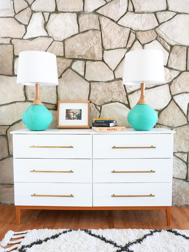 DIY Midcentury Modern Decor Ideas - Mid Century Modern Dresser DIY - DYI Mid Centurty Modern Furniture and Home Decorations - Chairs, Sofa, Wall Art , Shelves, Bedroom and Living Room