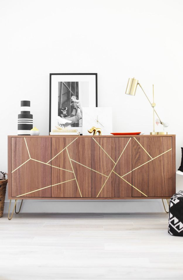 DIY Midcentury Modern Decor Ideas - Mid-Century Modern IKEA Hack Sideboard - DYI Mid Centurty Modern Furniture and Home Decorations - Chairs, Sofa, Wall Art , Shelves, Bedroom and Living Room
