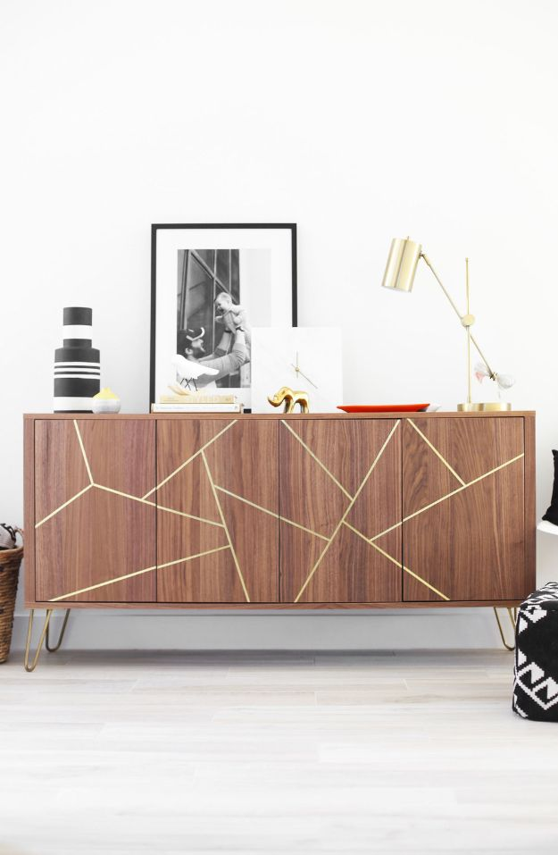 DIY Sideboards - Mid Century Modern Ikea Hack Sideboard - Easy Furniture Ideas to Make On A Budget - DYI Side Board Tutorial for Makeover, Building Wooden Home Decor