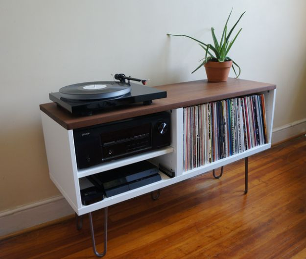 DIY Midcentury Modern Decor Ideas - Mid Century Modern Record Console - DYI Mid Centurty Modern Furniture and Home Decorations - Chairs, Sofa, Wall Art , Shelves, Bedroom and Living Room