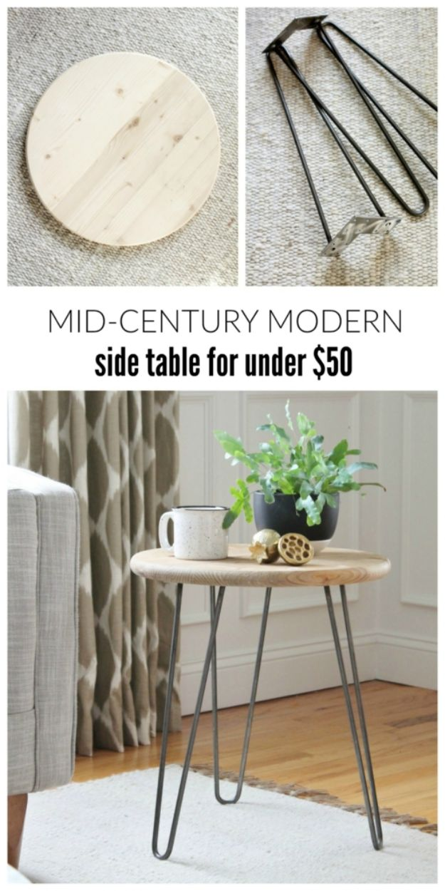 DIY Midcentury Modern Decor Ideas - Mid-Century Modern Table For Under $50 - DYI Mid Centurty Modern Furniture and Home Decorations - Chairs, Sofa, Wall Art , Shelves, Bedroom and Living Room