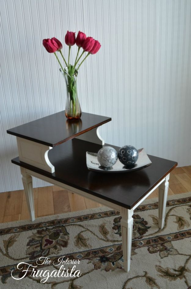 DIY Midcentury Modern Decor Ideas - Mid Century Modern Tiered Table Makeover - DYI Mid Centurty Modern Furniture and Home Decorations - Chairs, Sofa, Wall Art , Shelves, Bedroom and Living Room