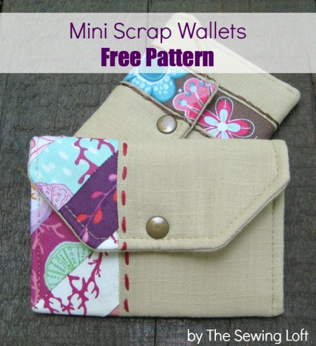 DIY Wallets - Mini Scrap Wallets - Cool and Easy DIY Wallet Ideas - Fabric, Duct Tape and Leather Crafts - Tutorial and Instructions for Making A Wallet - Cheap DIY Gifts