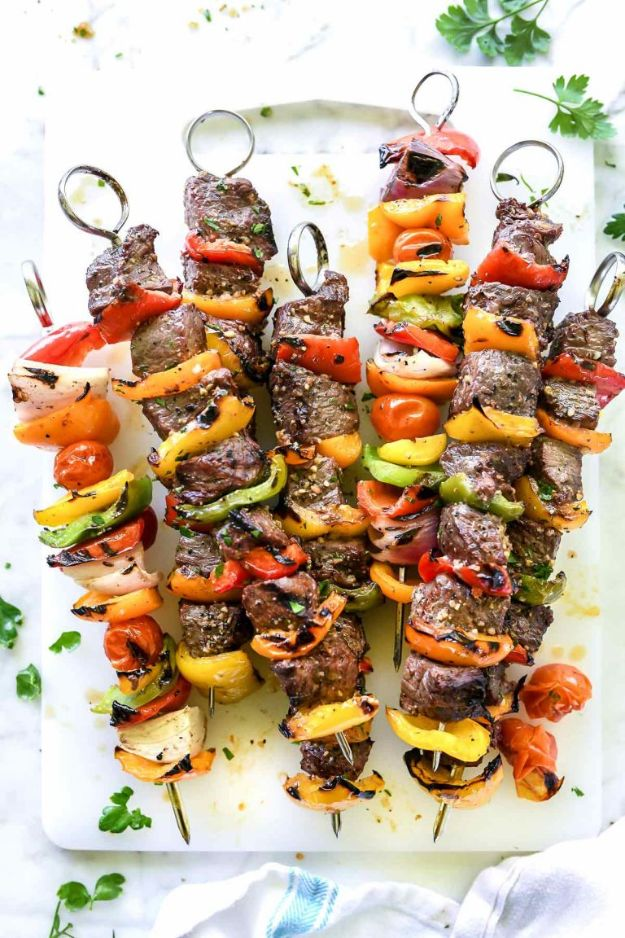 Potluck Recipe Ideas -Montreal Steak And Peppers Kebabs - Easy Recipes to Take To Potlucks - Dinner Casseroles, Salads, One Pot Meals, Pasta Dishes, Quick Crockpot Recipes