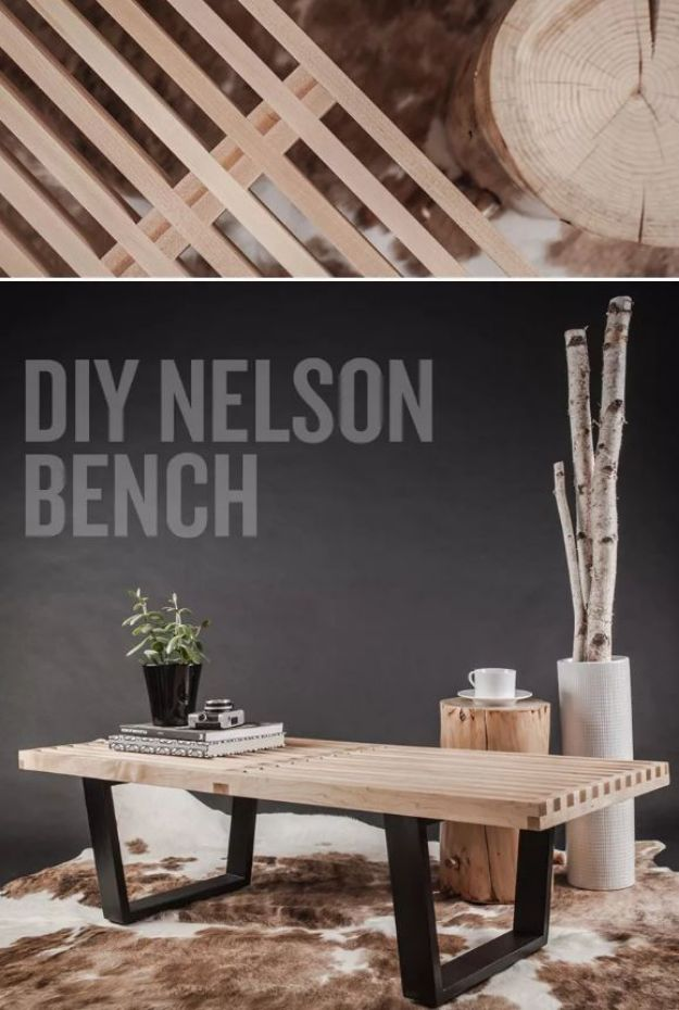 DIY Midcentury Modern Decor Ideas - Nelson Bench Knock Off - DYI Mid Centurty Modern Furniture and Home Decorations - Chairs, Sofa, Wall Art , Shelves, Bedroom and Living Room