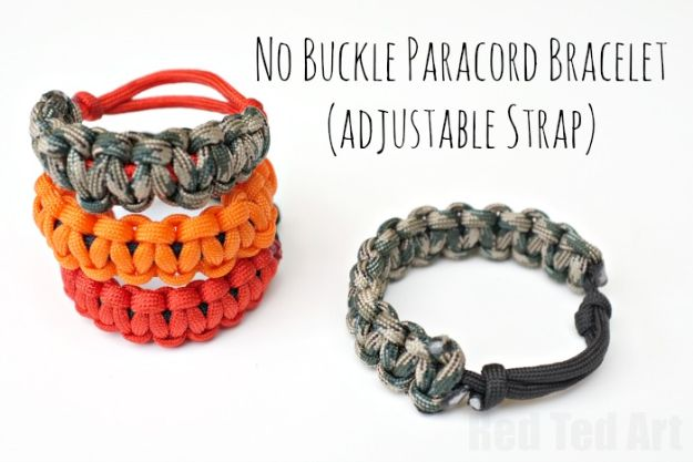 DIY Paracord Bracelet Ideas - No Buckle Paracord Bracelet - Tutorials for Easy Woven Paracord Bracelets | Survival and Stitched Patterns With Instructions and How To