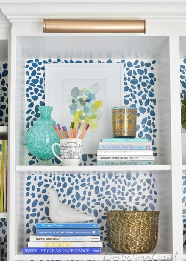 DIY Bookshelf Ideas - Paint the Back with a Pattern - DYI Bookshelves and Projects - Easy and Cheap Home Decor Idea for Bedroom, Living Room - Step by Step tutorial #diy #diyideas #diydecor #homedecor