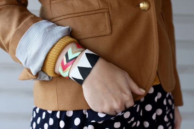 DIY Boho Clothes and Jewelry - Painted Leather Bracelet - How to Make Easy Boho Fashion On A Budget - Edgy Homemade Hippe Clothing Ideas for Summer, Winter, Spring and Fall