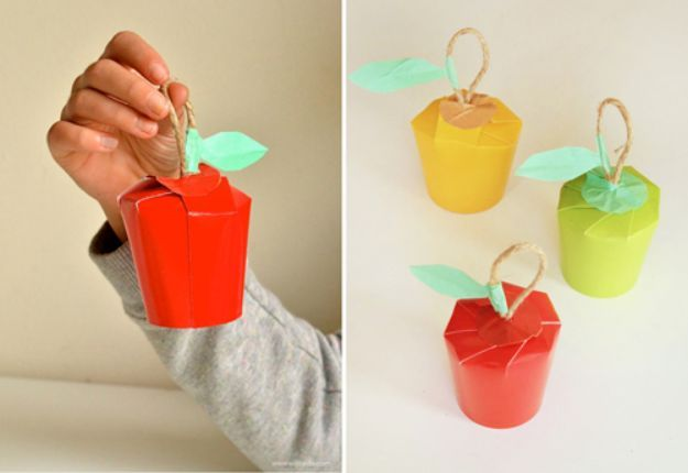 DIY Apple Crafts | Paper Cup Apples - Cute and Easy DIY Ideas With Apples - Painting, Mason Jars, Home Decor