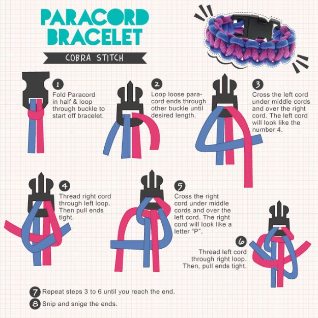 DIY Paracord Bracelet Ideas - Paracord Bracelet Cobra Stitch - Tutorials for Easy Woven Paracord Bracelets | Survival and Stitched Patterns With Instructions and How To