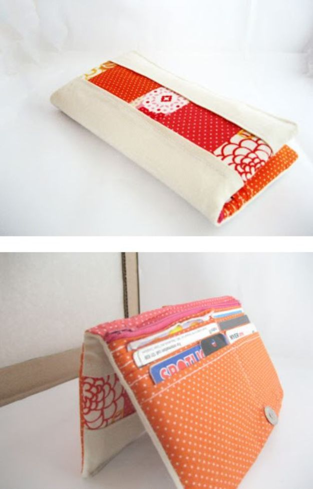 DIY Wallets - Patchwork-y Bifold Wallet Tutorial - Cool and Easy DIY Wallet Ideas - Fabric, Duct Tape and Leather Crafts - Tutorial and Instructions for Making A Wallet - Cheap DIY Gifts
