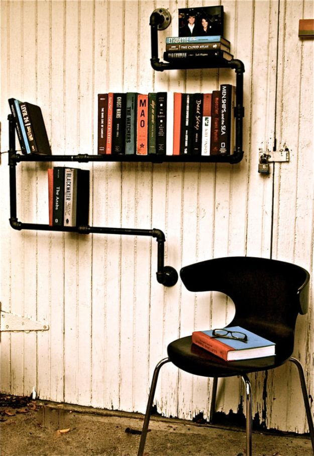DIY Bookshelves - Plumber Bookshelves - Easy Book Shelf Ideas to Build for Cheap Home Decor - Tutorials and Plans, Best IKEA Hacks, Rustic Farmhouse and Mid Century Modern