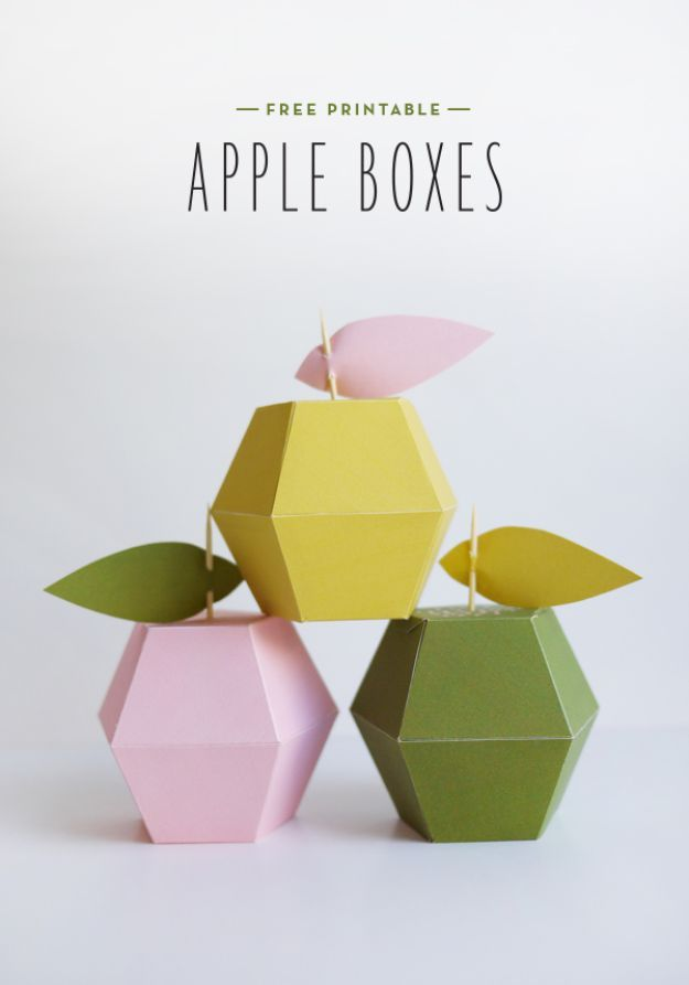 DIY Apple Crafts | Printable Apple Boxes - Cute and Easy DIY Ideas With Apples - Painting, Mason Jars, Home Decor