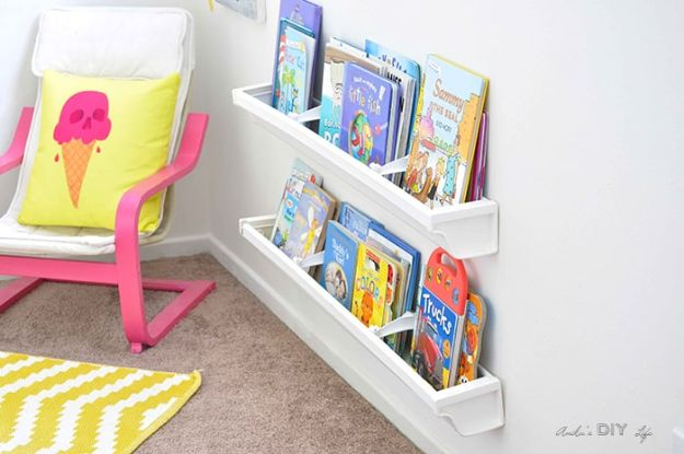 DIY Bookshelf Ideas - Rain Gutter Bookshelves - DYI Bookshelves and Projects - Easy and Cheap Home Decor Idea for Bedroom, Living Room - Step by Step tutorial #diy #diyideas #diydecor #homedecor