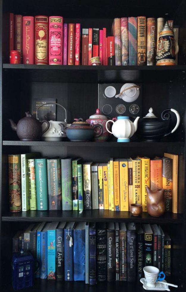 DIY Bookshelf Ideas - Rainbow Bookshelf - DYI Bookshelves and Projects - Easy and Cheap Home Decor Idea for Bedroom, Living Room - Step by Step tutorial #diy #diyideas #diydecor #homedecor