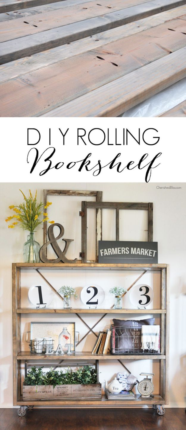 DIY Bookshelves - Rolling DIY Bookshelf - Easy Book Shelf Ideas to Build for Cheap Home Decor - Tutorials and Plans, Best IKEA Hacks, Rustic Farmhouse and Mid Century Modern