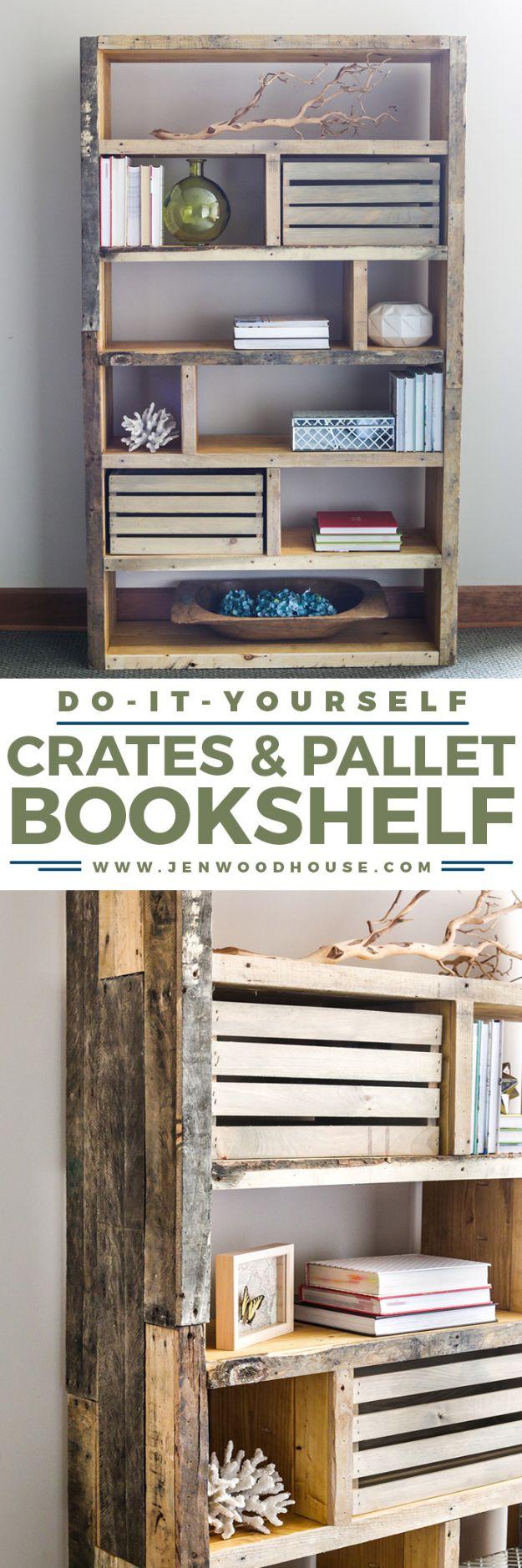 DIY Bookshelf Ideas - Rustic Bookshelf from Crates and Pallet - Crate and Pallets Book Shelf Pinterest - Cheap Farmhouse Home Decor Ideas