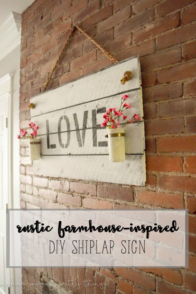 DIY Signs To Make For Your Home | Rustic Farmhouse-Inspired DIY Shiplap Sign - Rustic Wall Art Ideas and Homemade Sign for Bedroom, Kitchen, Farmhouse Decor | Stencil Pallet and Distressed Vintage
