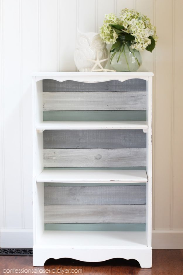 Farmhouse DIY Bookshelf - How to Make a Shiplap Bookcase - DYI Bookshelves and Book case Projects - Easy and Cheap Home Decor Idea for Bedroom, Living Room - Organizing Ideas for Books