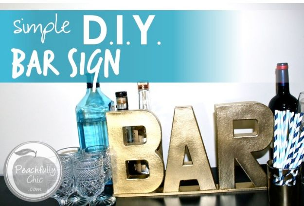 DIY Signs To Make For Your Home | Simple DIY Bar Sign - Rustic Wall Art Ideas and Homemade Sign for Bedroom, Kitchen, Farmhouse Decor | Stencil Pallet and Distressed Vintage