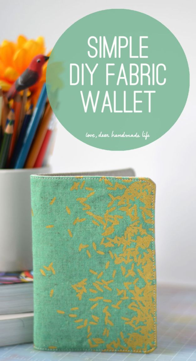 DIY Wallets - Simple DIY Fabric Wallet - Cool and Easy DIY Wallet Ideas - Fabric, Duct Tape and Leather Crafts - Tutorial and Instructions for Making A Wallet - Cheap DIY Gifts