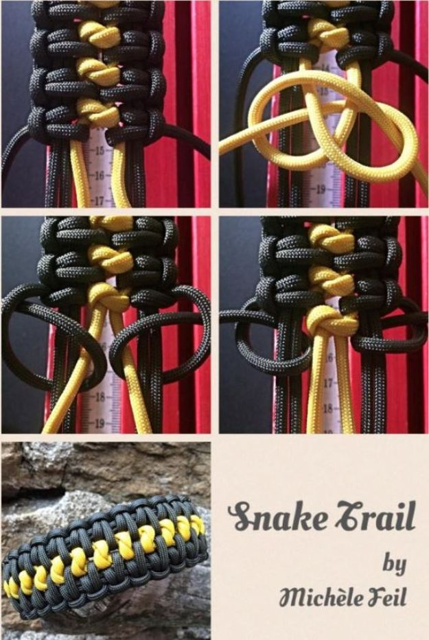 DIY Paracord Bracelet Ideas - Snake Trail Paracord Bracelet - Tutorials for Easy Woven Paracord Bracelets   Survival and Stitched Patterns With Instructions and How To