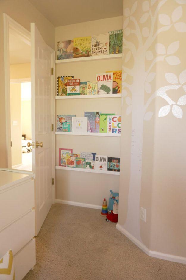 DIY Bookshelf Ideas - Space Saving Bookshelf - DYI Bookshelves and Projects - Easy and Cheap Home Decor Idea for Bedroom, Living Room - Step by Step tutorial #diy #diyideas #diydecor #homedecor