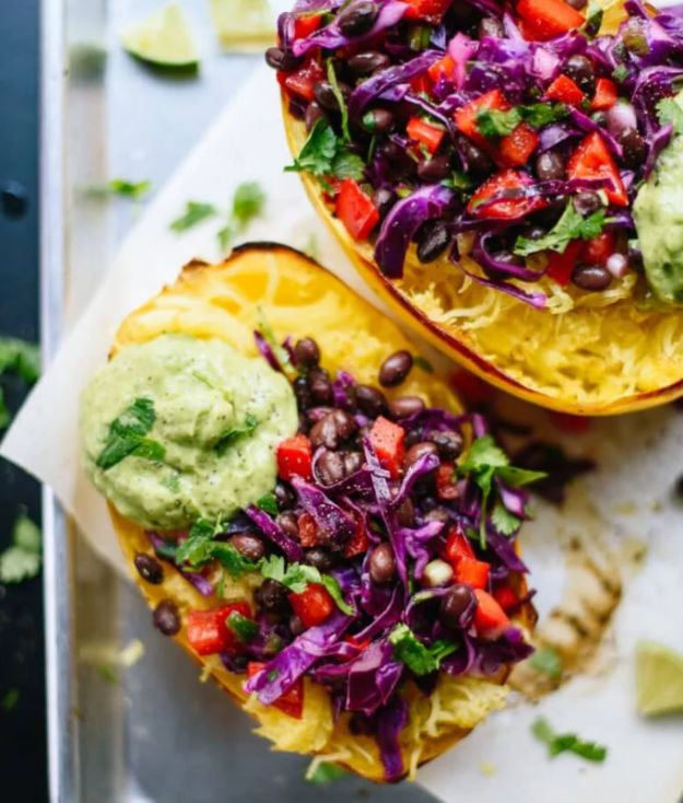 Recipes for Clean Eating - Spaghetti Squash Burrito Bowls - Raw and Whole Foods, Unprocessed Meal and Snack Ideas for Lunch and Dinner - Fresh, Healthy Foods and Recipe Ideas