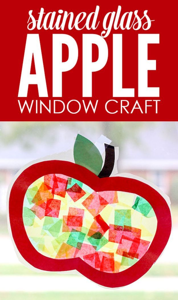 DIY Apple Crafts | Stained Glass Apple Window - Cute and Easy DIY Ideas With Apples - Painting, Mason Jars, Home Decor