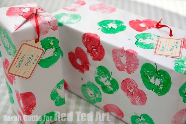 DIY Apple Crafts | Stamped Apple Wrapping Paper - Cute and Easy DIY Ideas With Apples - Painting, Mason Jars, Home Decor