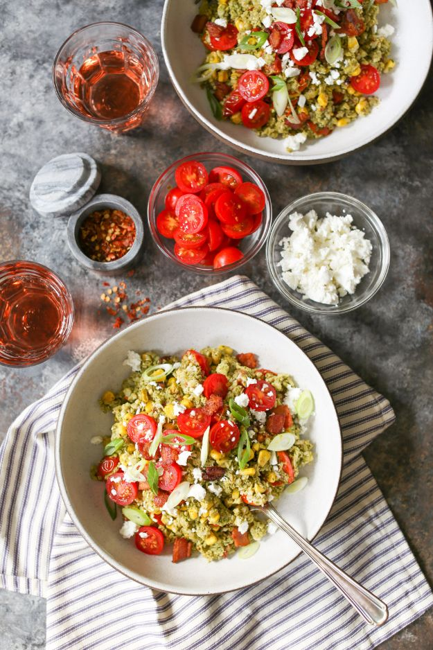 Recipes for Clean Eating - Summer Cauliflower Rice Bowls with Bacon and Pesto - Raw and Whole Foods, Unprocessed Meal and Snack Ideas for Lunch and Dinner - Fresh, Healthy Foods and Recipe Ideas