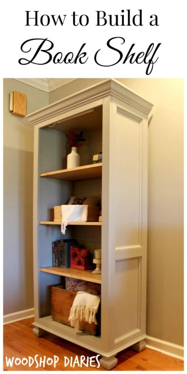 DIY Bookshelves - Super Easy Bookshelf - Easy Book Shelf Ideas to Build for Cheap Home Decor - Tutorials and Plans, Best IKEA Hacks, Rustic Farmhouse and Mid Century Modern