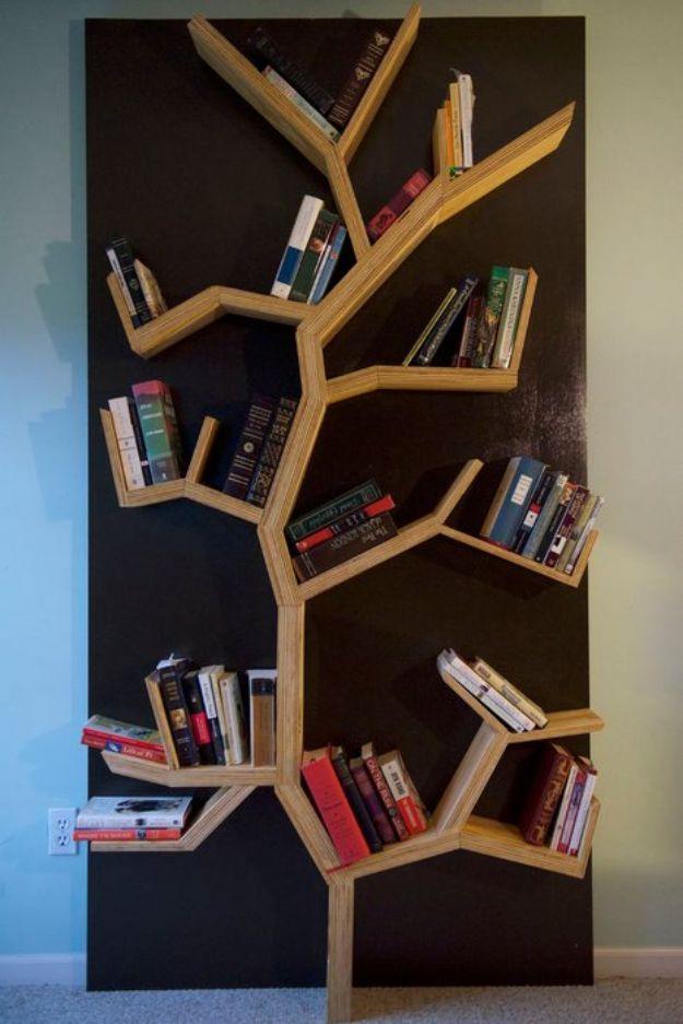 DIY Bookshelf Ideas - Tree Bookshelf DIY - DYI Bookshelves and Projects - Easy and Cheap Home Decor Idea for Bedroom, Living Room - Step by Step tutorial #diy #diyideas #diydecor #homedecor
